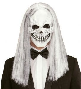 Skull Mask with Long White Hair - (01017)
